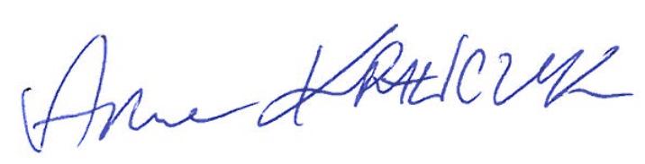 Podpis Anny Krawczyk Prezes Zarządu fundacji Rycerze i Księżniczki